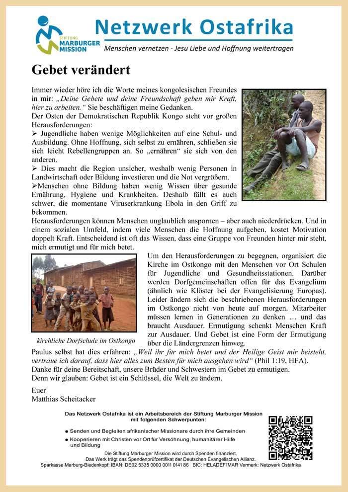 Gemeindebriefartikel Netzwerk Ostafrika